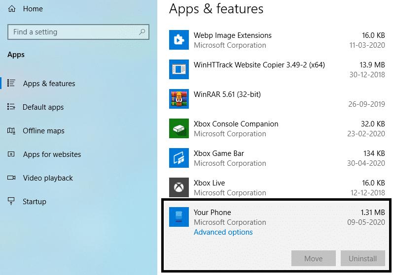 yourphone.exe windows 10